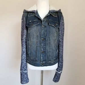 Free People Distressed Knit Hooded Denim Jacket